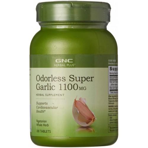 GNCハーバルプラス無臭スーパーガーリック1100mg、100錠、心臓血管の健康をサポート