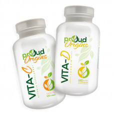 Proud Origins ビタミンD +ビタミンC(2パック) 最高の効力、構造サポート*、120ソフトジェル 2個セット骨と歯の成長と発達 健康、ビタミン、ミネラル、サプリメント