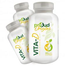 Proud Origins ビタミンD10000IU120ソフトジェル 3個セットすべての天然ビタミンD3 ビタミンd サプリ 最近話題の成分、ビタミンD3オススメ 太陽のビタミン 配合のビタミンD3サプリメント