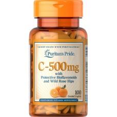ビタミンC 500 mg ・バイオフラボノイド& ローズヒップ配合