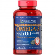 濃縮オメガ3フィッシュオイル 1360 mg. 有効期限:2020年6月)