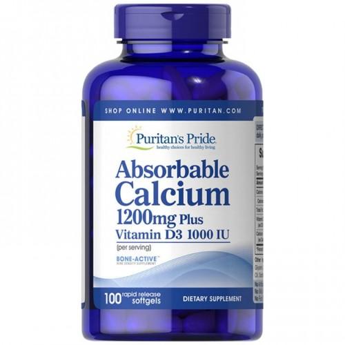 吸収性カルシウム1200 mg、ビタミンD3 1000 IU配合